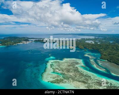 High aerial views of tropical islands and coral reefs in Palau