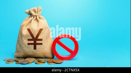 Yuan Yen money bag and red prohibition sign NO. Confiscation of deposits. Termination funding for projects. Monitoring suspicious money flows. Monetar