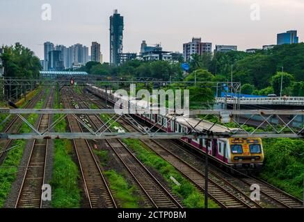 MUMBAI, INDIA - September 20, 2020 : Mumbai Suburban Railway, one of the busiest commuter rail systems in the world having most severe overcrowding in