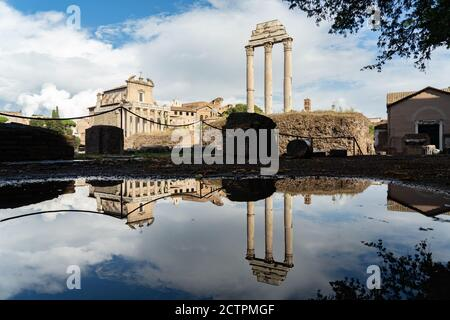 Rome, Italy. 24th September, 2020. Italy Weather: Rome, Italy. 24th September, 2020. Italy Weather: Reflections in puddles after heavy rain in the Forum in Rome, Italy. Photo: Roger Garfield/Alamy Live News - Stock Photo