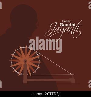 Happy Gandhi Jayanti Banner | Gandhi Ji And His Charkha | 2 October, Birthday of Mahatma Gandhi