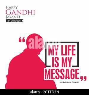 Happy Gandhi Jayanti Banner | My Life is My Message by Mahatma Gandhi