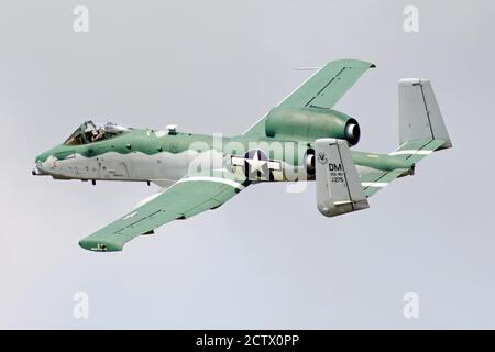 Air Combat Command A-10C Thunderbolt II Demonstration Team, stationed out of Davis-Monthan Air Force Base, Arizona flies over Airshow London Skydrive. - Stock Photo