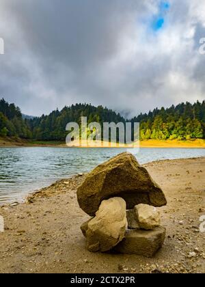 Pilet rocks on ex Louisiana road normally under lake water level near Lokvarsko Lokve lake and Mrzla vodica in Croatia Europe