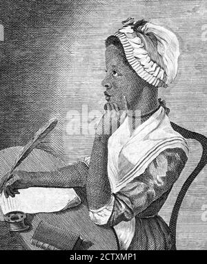 Phillis Wheatley (c.1753-1784), portrait of the first African-American author of a published book of poetry, engraving, c.1773 - Stock Photo