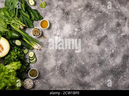 Ingredients for cooking healthy vegan food. Top view with copy space