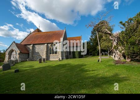 St Mary's Church, a village church in Aldworh, Berkshire, UK, famous for a group of mid-14th-century effigies to members of the de la Beche family. - Stock Photo