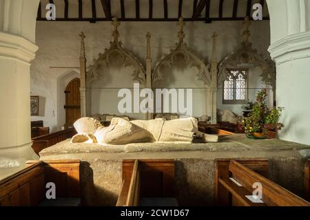 14th century De la Beche family effigies known as the Aldworth Giants inside St Mary's Church in Aldworth village, Berkshire, UK - Stock Photo