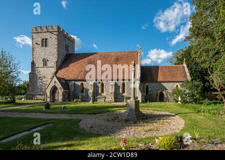 Saint Mary and Saint Nicholas Church in the village of Compton, Berkshire, UK - Stock Photo