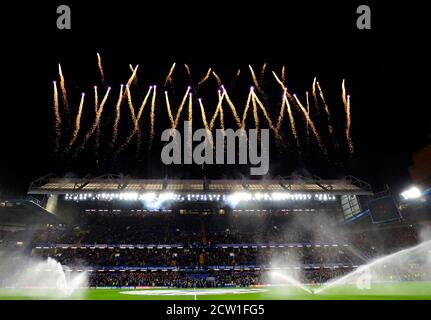 LONDON, ENGLAND - FEBRUARY 26, 2020: Fireworks shot ahead of the 2019/20 UEFA Champions League Round of 16 game between Chelsea FC and Bayern Munich at Stamford Bridge.