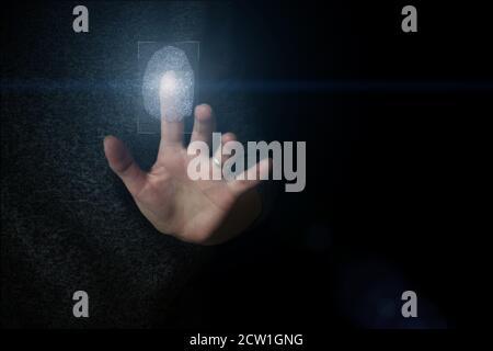Hologram fingerprint, fingerprint scan, blue background, ultraviolet. concept of fingerprint, biometrics, information technology and cyber security