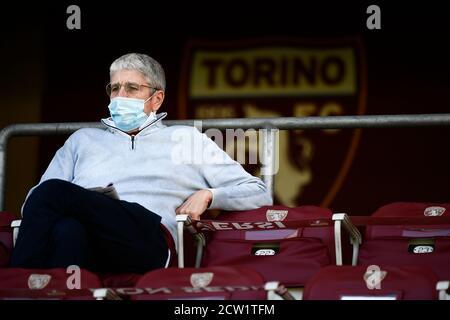 Turin, Italy - 26 September, 2020: Journalist Mario Giordano attends the Serie A football match between Torino FC and Atalanta BC. Atalanta BC won 4-2 over Torino FC. Credit: Nicolò Campo/Alamy Live News - Stock Photo