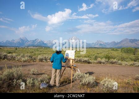 Artist in the Grand Tetons National Park, Wyoming, USA