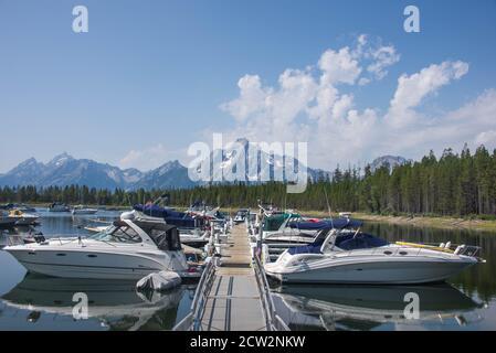 Jackson Lake and Coulter Bay marina, Grand Teton National Park, Wyoming, USA