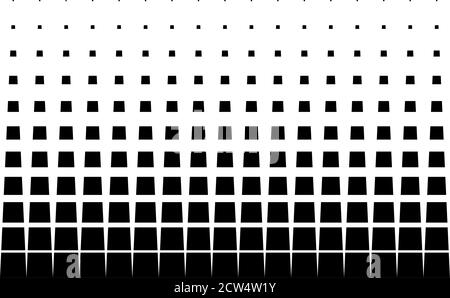 Geometric pattern of black squares on a white background. Seamless in one direction. Option with a middle fade out. 11 figures in height. The radial t Stock Photo
