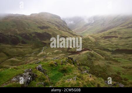 Drumlins - View from Lining Crag of Greenup Gill Valley, Lake District, England, UK, part of the Coast to Coast Walk