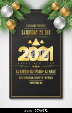 Flyer for Happy New Year 2021 party. Christmas tree and festive balls with snow dust. DJ and club. Greeting card. Golden lettering. Vector illustratio - Stock Photo