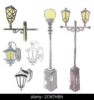 Vector Set of Sketch Street Lights and Fixtures - Stock Photo