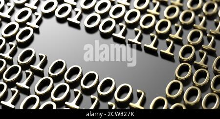 Space empty on binary code abstract technology background, Gold numbers 0 and 1 embossed on black. 3d illustration