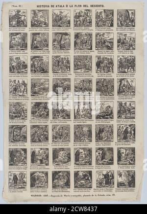 Broadside with 48 scenes depicting the story of Atal or the Flower of the Desert.jpg - 2CW8437 - Stock Photo