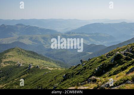 Morning sunny day is in mountain landscape. Carpathian, Ukraine, Europe. Beauty world. Large resolution - Stock Photo
