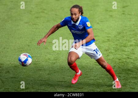 Marcus Harness of Portsmouth - Portsmouth v Wigan Athletic, Sky Bet League One, Fratton Park, Portsmouth, UK - 26th September 2020  Editorial Use Only - DataCo restrictions apply - Stock Photo
