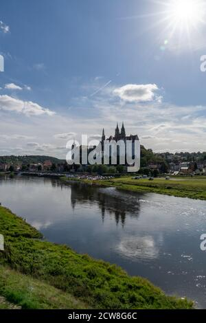 Meissen, Saxony / Germany - 10 September 2020: castle and cathedral in the German city of Meissen on the Elbe River