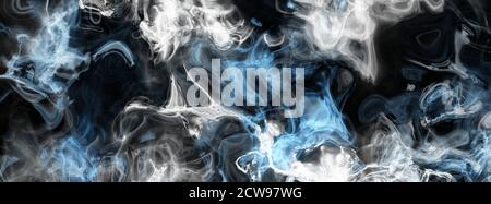 Abstract colored smoke, blue, grey, white transparent clouds on black background. Very detailed close up digital illustration, ultra high resolution, - Stock Photo