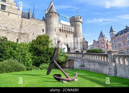 Het Steen - a medieval castle in the old city centre of Antwerp, Belgium - Stock Photo