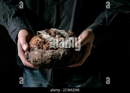 Man in black shirt holding in hands fresh baked artisan round homemade chocolate and cranberries rye bread. - Stock Photo