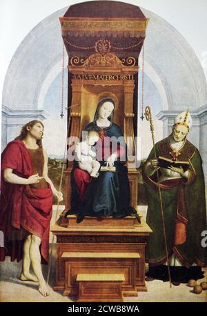 Painting titled 'The Ansidei Madonna' by Raphael. Raffaello Sanzio da Urbino (1483-1520) an Italian painter and architect of the High Renaissance. - Stock Photo