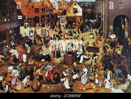 Painting titled 'A Fight Between Carnival and Lent' by Pieter Brueghel the Elder. Pieter Brueghel the Elder (1525-1569) the most significant artist of Dutch and Flemish Renaissance painting. - Stock Photo