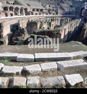 Colosseum, Rome. The Colosseum or Coliseum, originally known as the Flavian Amphitheatre, is a giant amphitheatre in the centre of the city of Rome. The photographer is unknown.