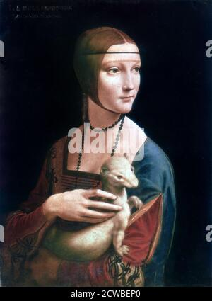 Portrait of Cecilia Gallerani, Lady with an Ermine', c1490. Artist: Leonardo da Vinci - Stock Photo