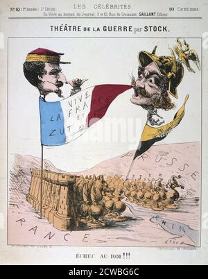 Echec au Roi', Franco-Prussian War, 1870-1871. Caricature of Napoleon III of France and Wilhelm I of Prussia from Les Celebrates. From a private collection.