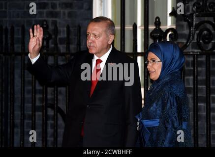 Photograph of Recep Tayyip Erdogan, President of the Republic of Turkey, attending the NATO Summit in London, December 2019. - Stock Photo