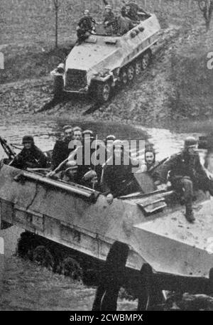 Black and white photograph of the Battle of France, May-June 1940; German armour in the North of France.