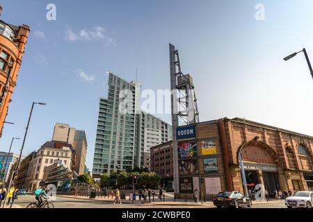 Old and new buildings of Deansgate in Manchester, England. - Stock Photo