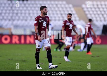 Torino, Italy. 26th September 2020. Nicola Murru of Torino FC   during the the Serie A match  between Torino Fc and Atalanta Calcio. - Stock Photo