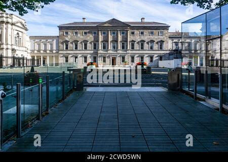 Leinster House, Kildare Street, Dublin,  the  seat of the Oireachtas, the parliament of Ireland., - Stock Photo