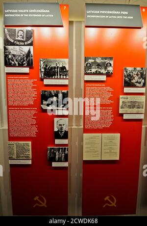 Museum of the Occupation of Latvia: 'Incorporation of Latvia into the USSR' panel. Riga - Stock Photo