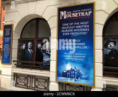 THE MOUSETRAP, the world's longest-running show, has cancelled plans to re-open at the St. Martins Theatre in London's West End in October 2020 due to increasing uncertainty over additional Covid-19 restrictions. The show's 67-year run was halted on 16th March 2020 when all UK theatres closed on government advice because of the pandemic - Stock Photo