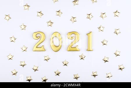 Happy New Year 2021. Sparkling gold numbers on black ...