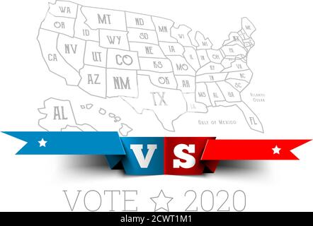 Presidential elections in the United States. Donald Trump vs. Joe Biden with map of America. Vector illustration - Stock Photo