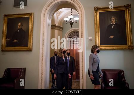 Washington DC, USA. 30th September, 2020. Supreme Court nominee Judge Amy Coney Barrett arrives in the morning at the US Capitol in Washington, DC., Wednesday, September 30, 2020. Credit: Rod Lamkey/Consolidated News Photos/POOL Photo via Credit: Newscom/Alamy Live News
