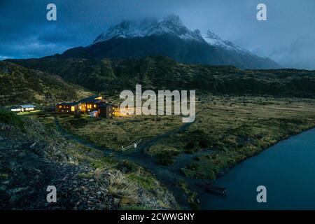 cuernos del Paine, refugio Paine Grande, trekking W, Parque nacional Torres del Paine,Sistema Nacional de Áreas Silvestres Protegidas del Estado de Ch - Stock Photo