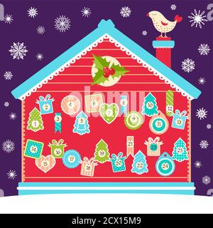 Square background with Christmas advent calendar with cartoon bird, house and labels in retro style. Set of winter holiday xmas tags with numbers. Vec - Stock Photo