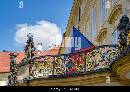 PRAGUE, CZECH REPUBLIC - JULY 2018: Balcony above one of the entrances to Prague Castle, which is the official office of the President Stock Photo