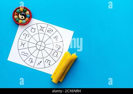Horoscope wheel of zodiac symbols on work place