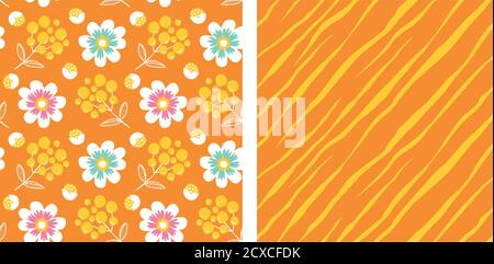 Set of abstract flowers, berries and diagonal lines, seamless vector patterns